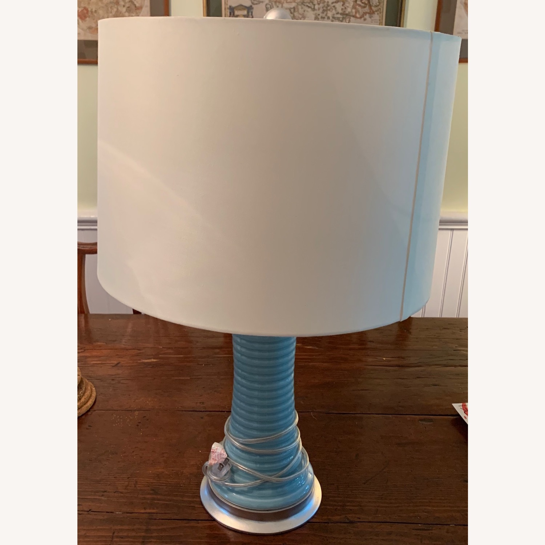 Light Blue Glazed Ceramic Lamp - image-2