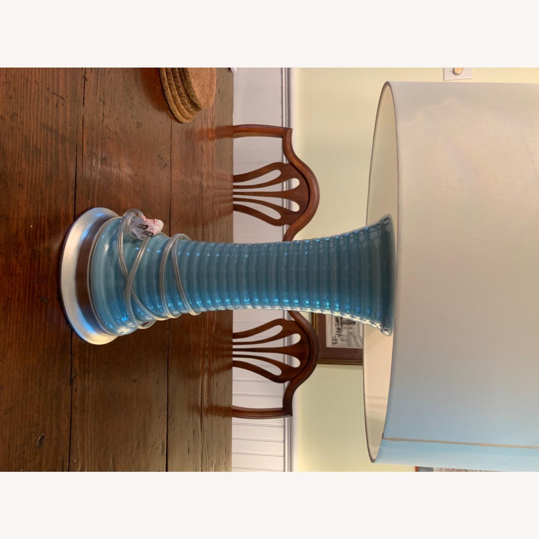 Light Blue Glazed Ceramic Lamp - image-5