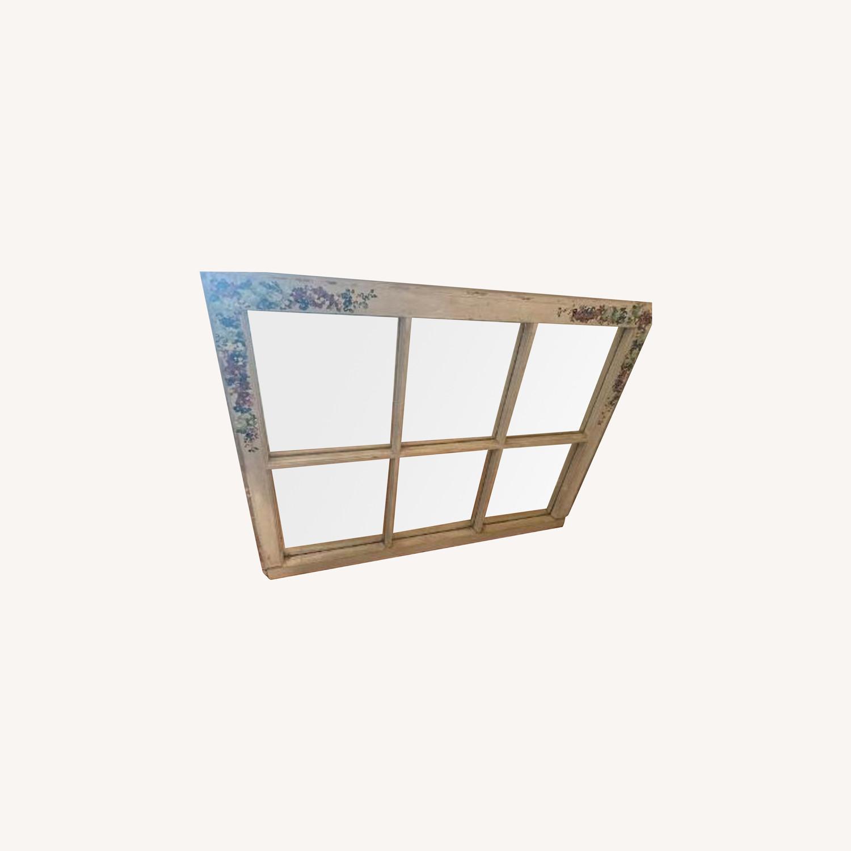 Handpainted Wood Windowpane Mirror - image-0