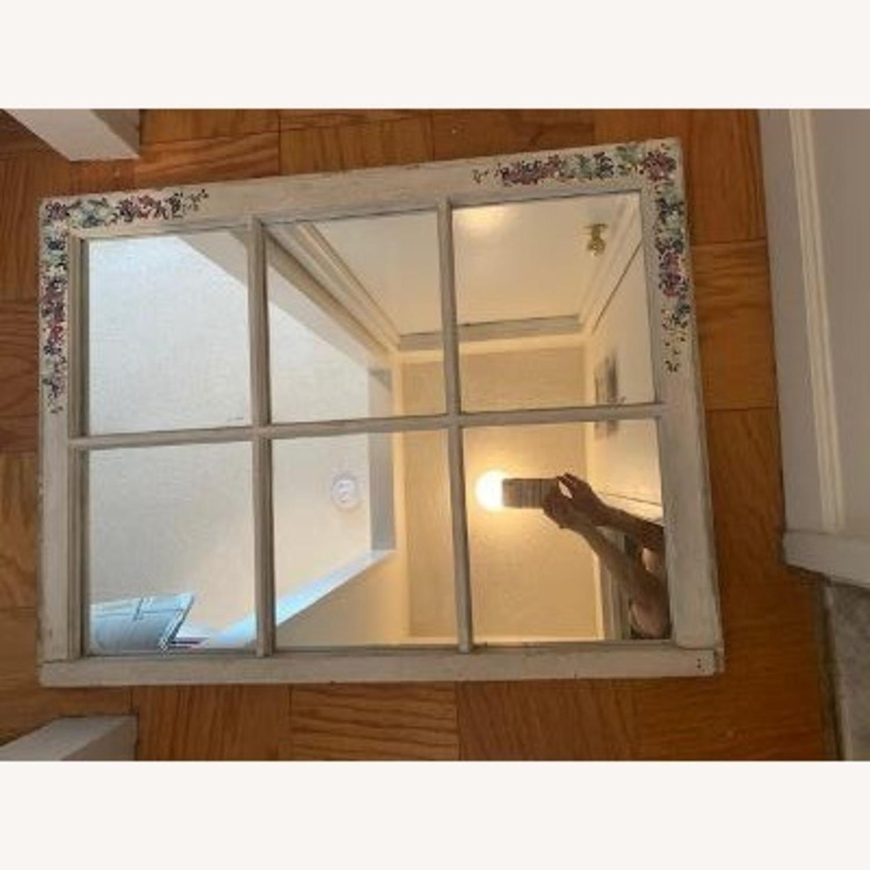 Handpainted Wood Windowpane Mirror - image-6