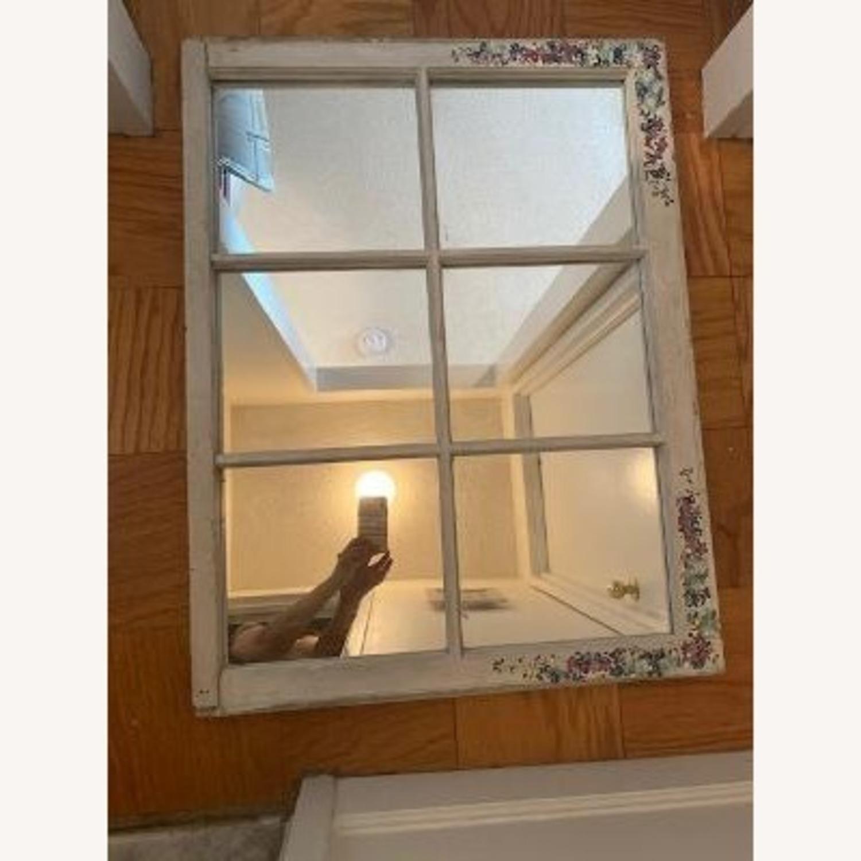 Handpainted Wood Windowpane Mirror - image-8
