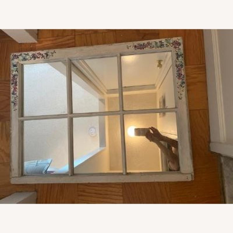 Handpainted Wood Windowpane Mirror - image-5