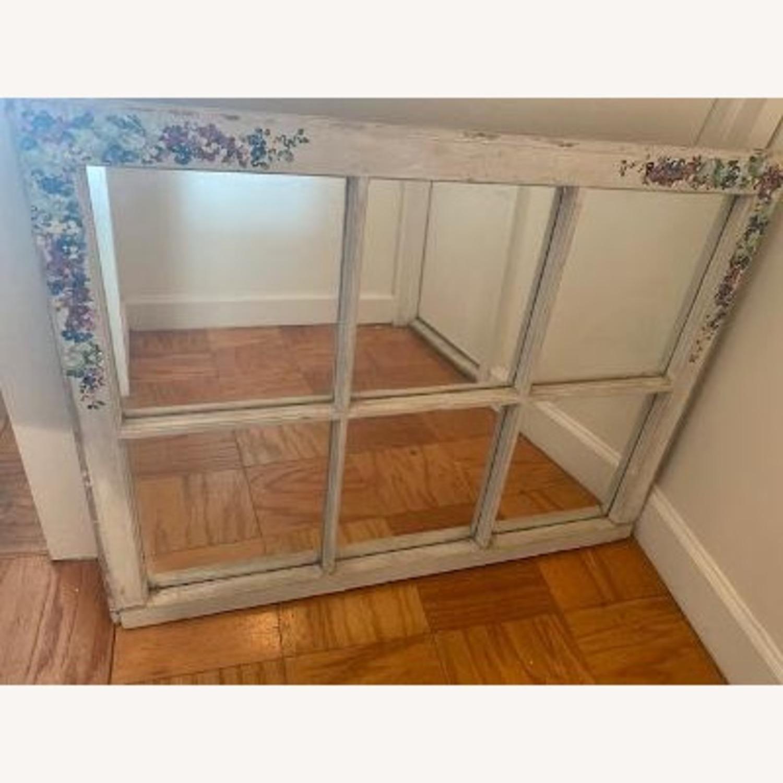 Handpainted Wood Windowpane Mirror - image-1