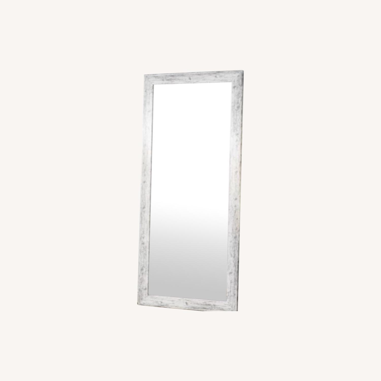 Wayfair Handcrafted Distressed Wood Floor Mirror, White - image-0