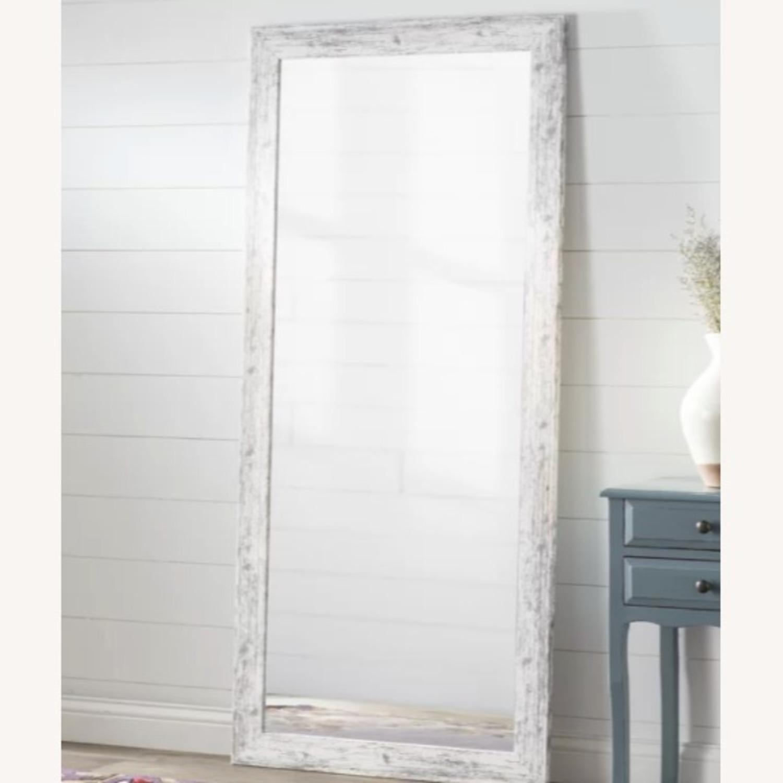 Wayfair Handcrafted Distressed Wood Floor Mirror, White - image-1