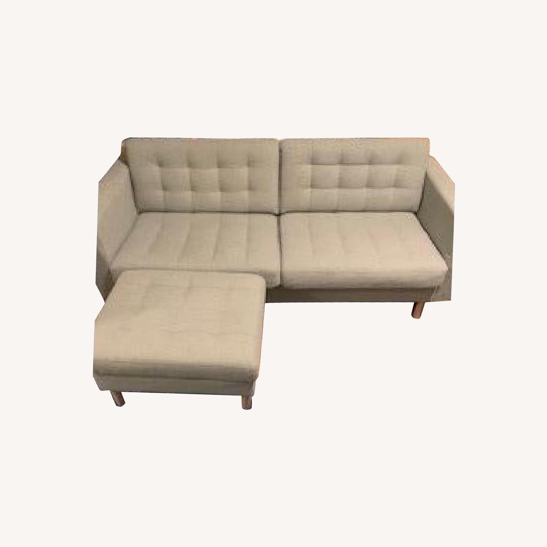 IKEA Two Seat Sofa and Ottoman - image-0