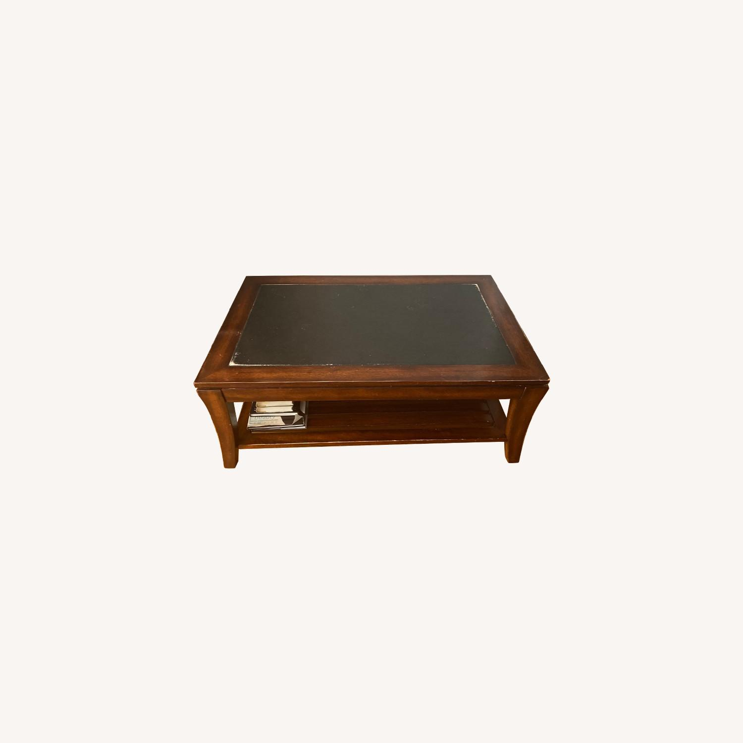 Magnussen Wood Coffee table with Slate Top - image-0