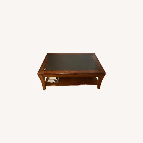 Used Magnussen Wood Coffee table with Slate Top for sale on AptDeco
