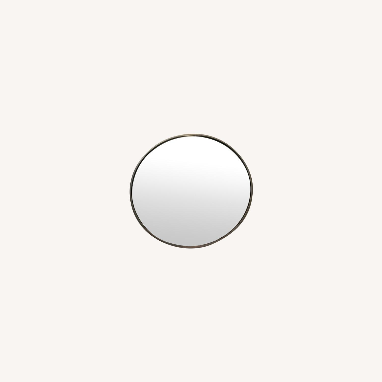 CB2 Round Mirror with Brushes Stainless Steel Rim - image-0