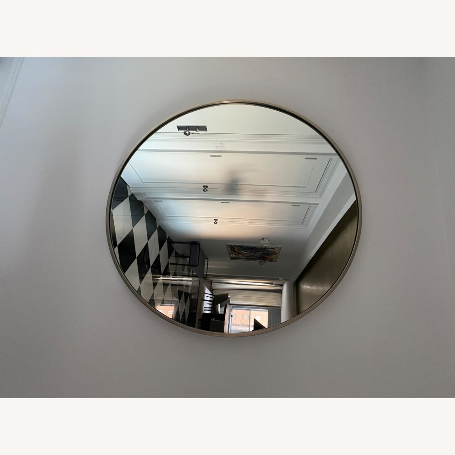 CB2 Round Mirror with Brushes Stainless Steel Rim - image-1