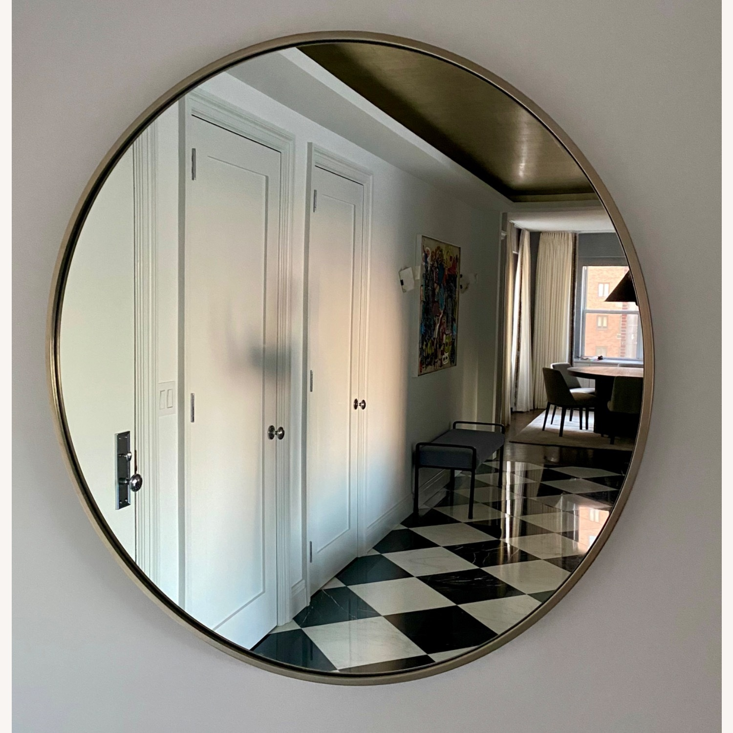 CB2 Round Mirror with Brushes Stainless Steel Rim - image-6