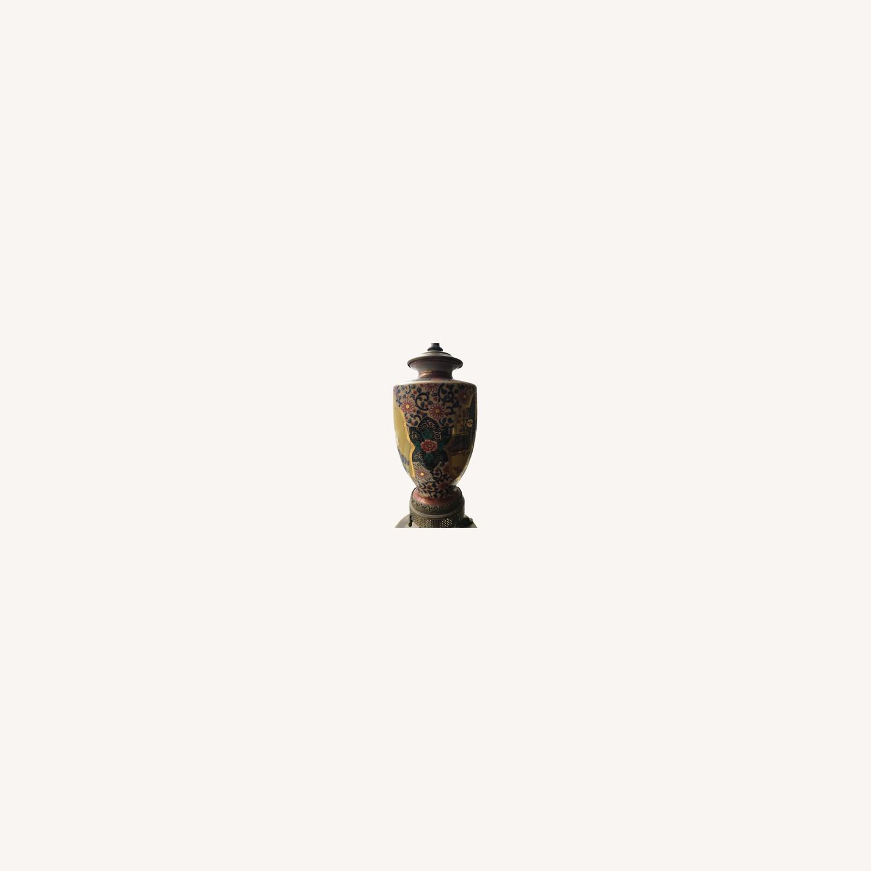 Antique Famille Rose Porcelain Vase Lamps - image-0