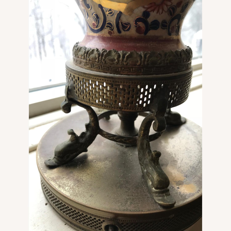 Antique Famille Rose Porcelain Vase Lamps - image-9