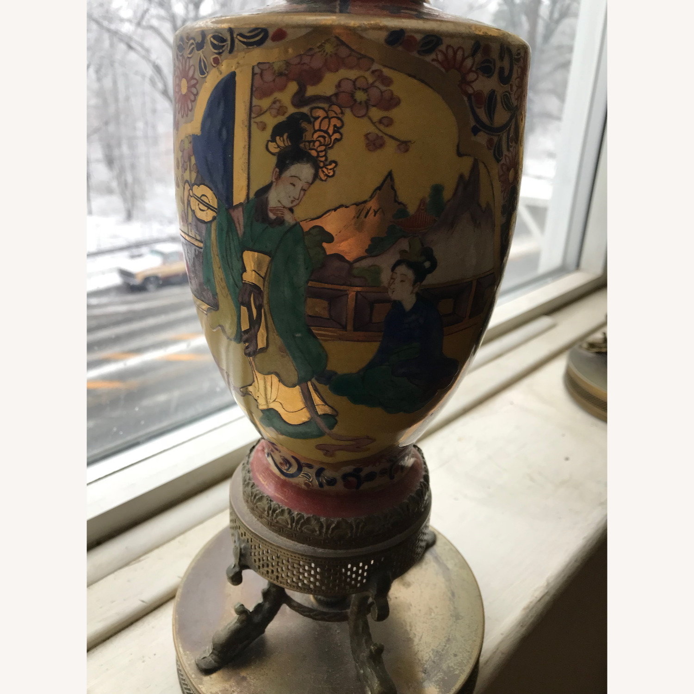 Antique Famille Rose Porcelain Vase Lamps - image-7