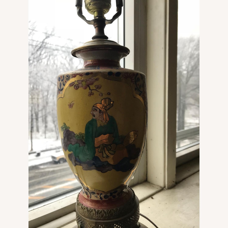 Antique Famille Rose Porcelain Vase Lamps - image-3