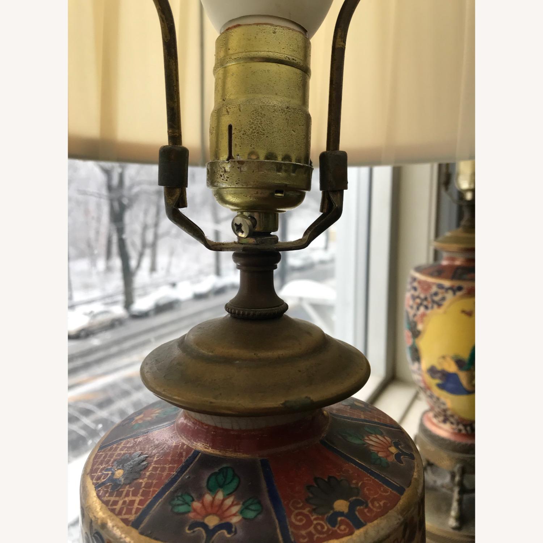 Antique Famille Rose Porcelain Vase Lamps - image-8