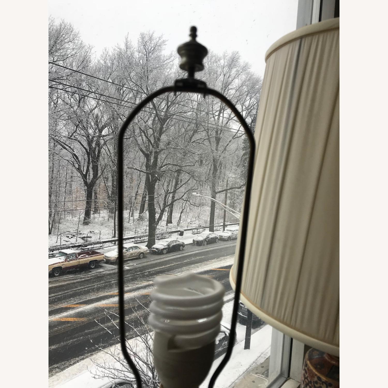 Antique Famille Rose Porcelain Vase Lamps - image-11