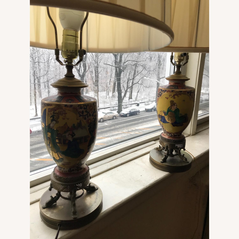 Antique Famille Rose Porcelain Vase Lamps - image-1
