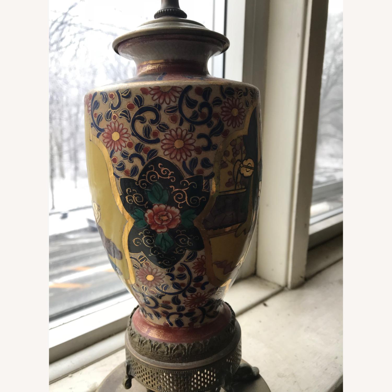 Antique Famille Rose Porcelain Vase Lamps - image-10