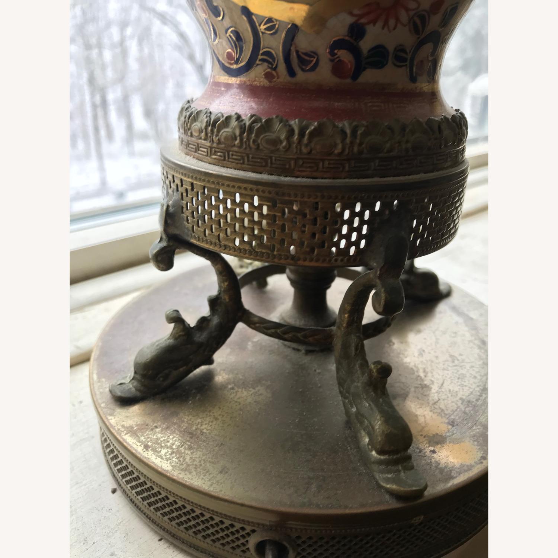 Antique Famille Rose Porcelain Vase Lamps - image-5