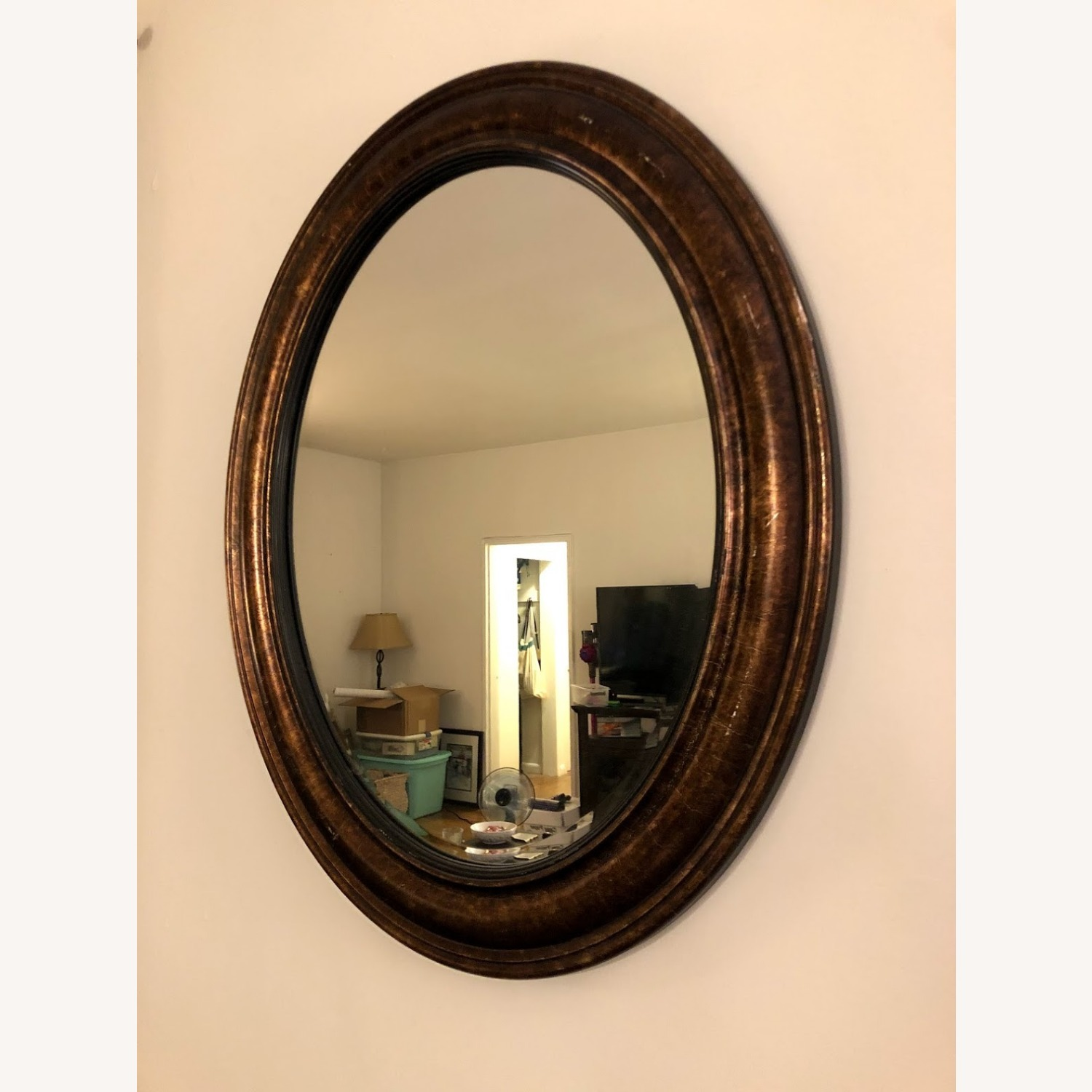 Brown Oval Mirror - image-2