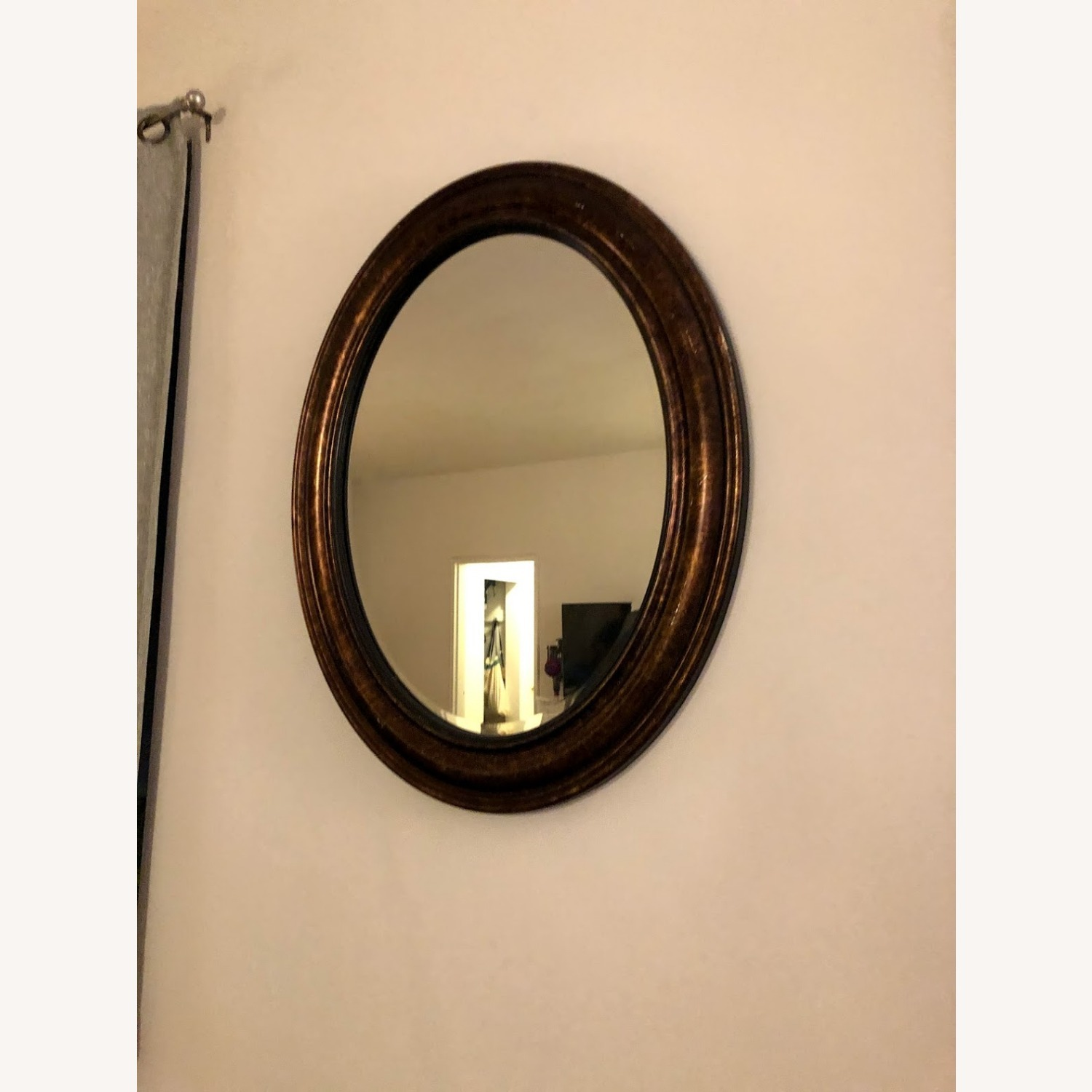 Brown Oval Mirror - image-1