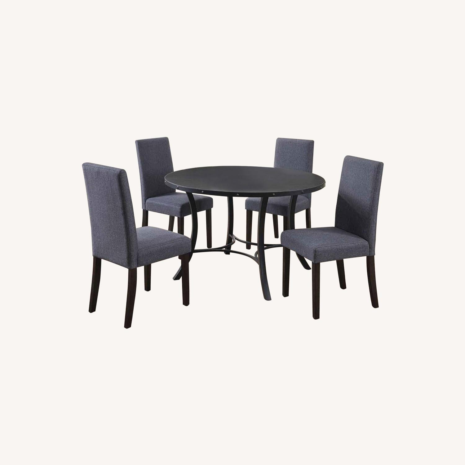 Rustic 5 Piece Dining Set In Matte Black Finish - image-5