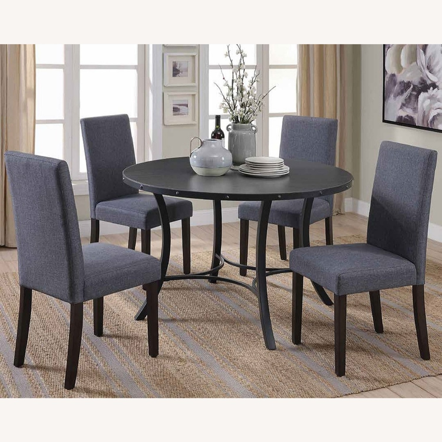 Rustic 5 Piece Dining Set In Matte Black Finish - image-4