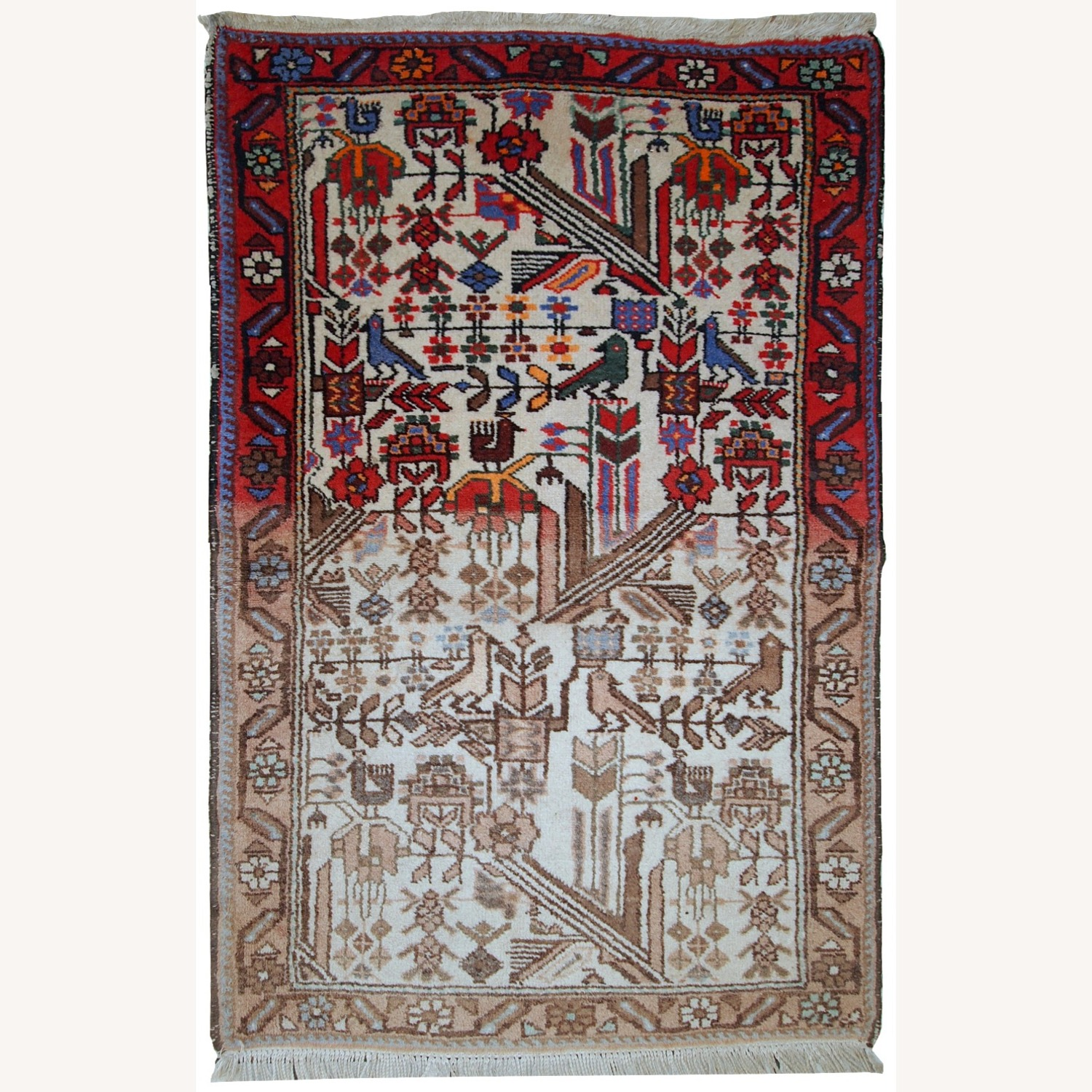 Handmade antique Persian Mashad rug - image-1