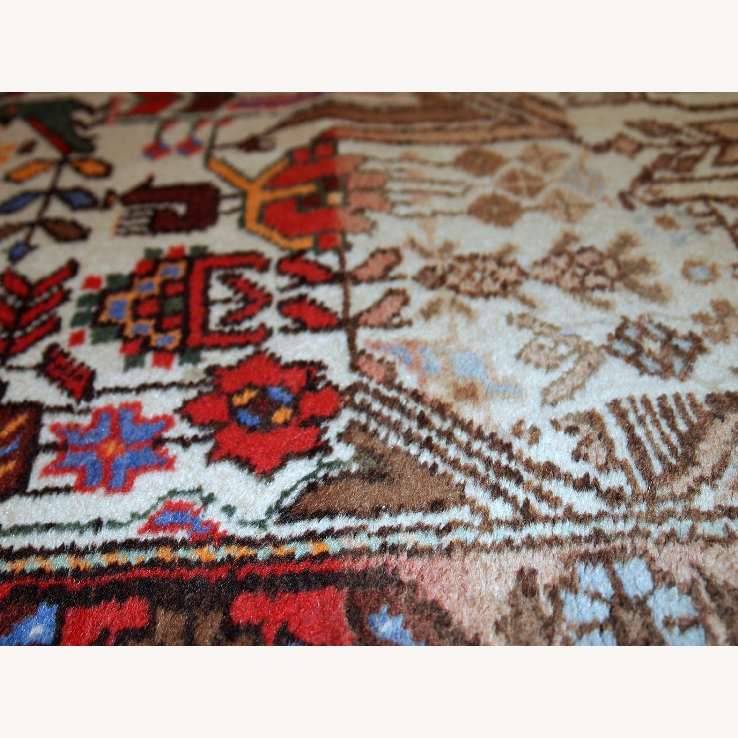 Handmade antique Persian Mashad rug - image-6