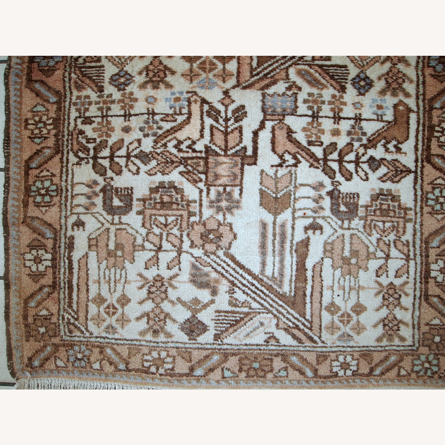Handmade antique Persian Mashad rug - image-7