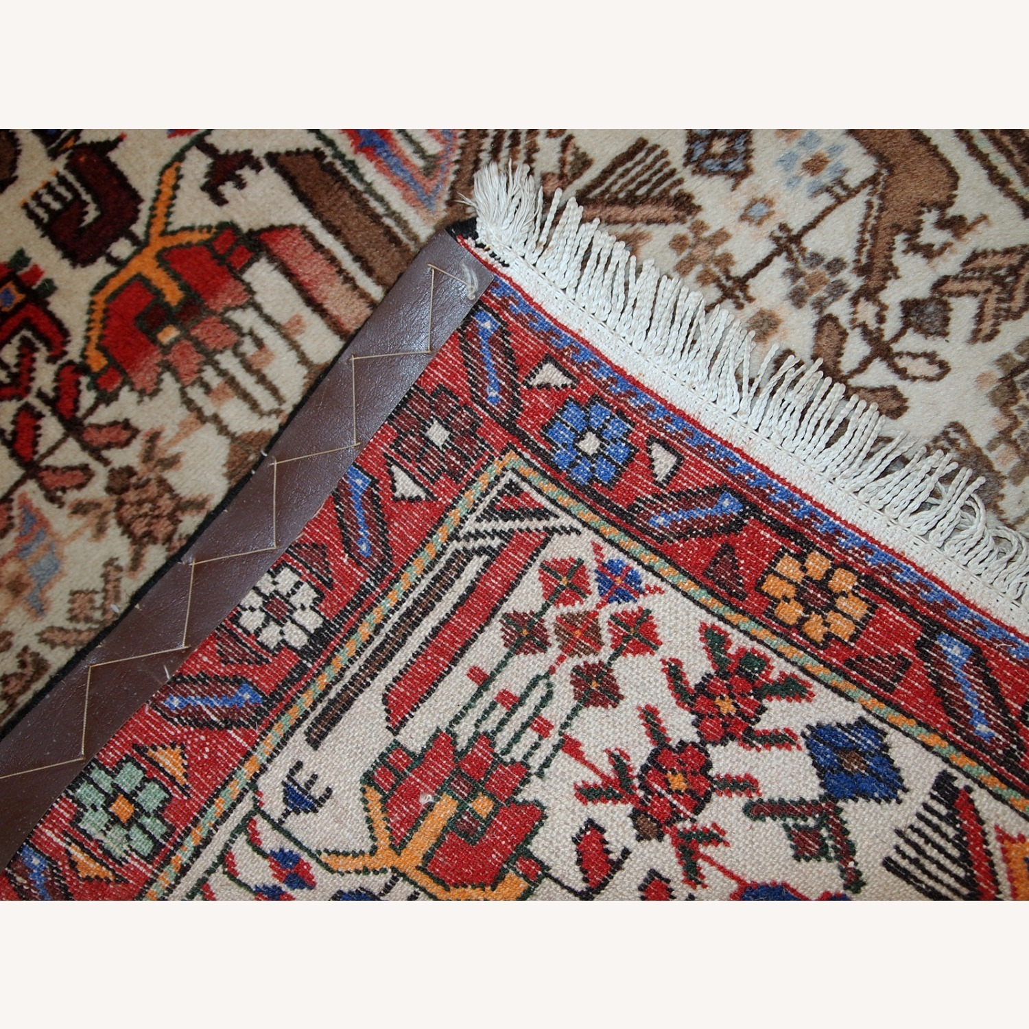 Handmade antique Persian Mashad rug - image-5