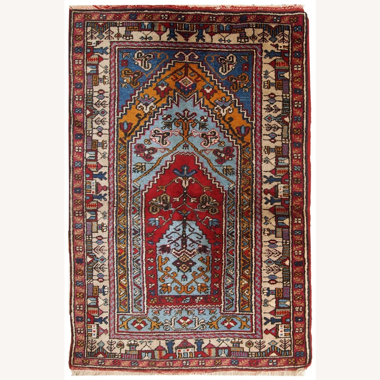 Handmade Vintage Prayer Turkish Konya Rug - image-1