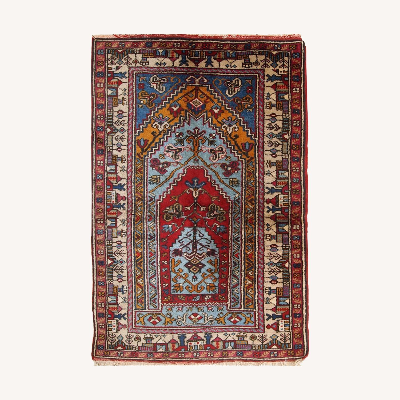 Handmade Vintage Prayer Turkish Konya Rug - image-0