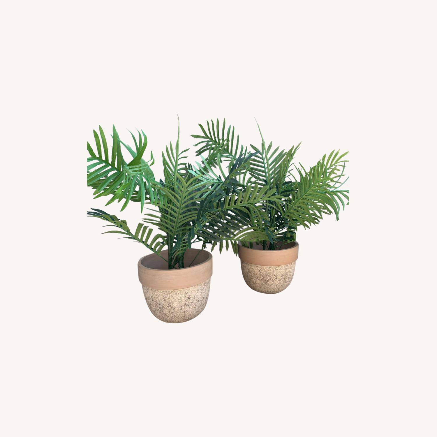 Ceramic Planters With Etched Flowers + Faux Palms - image-0