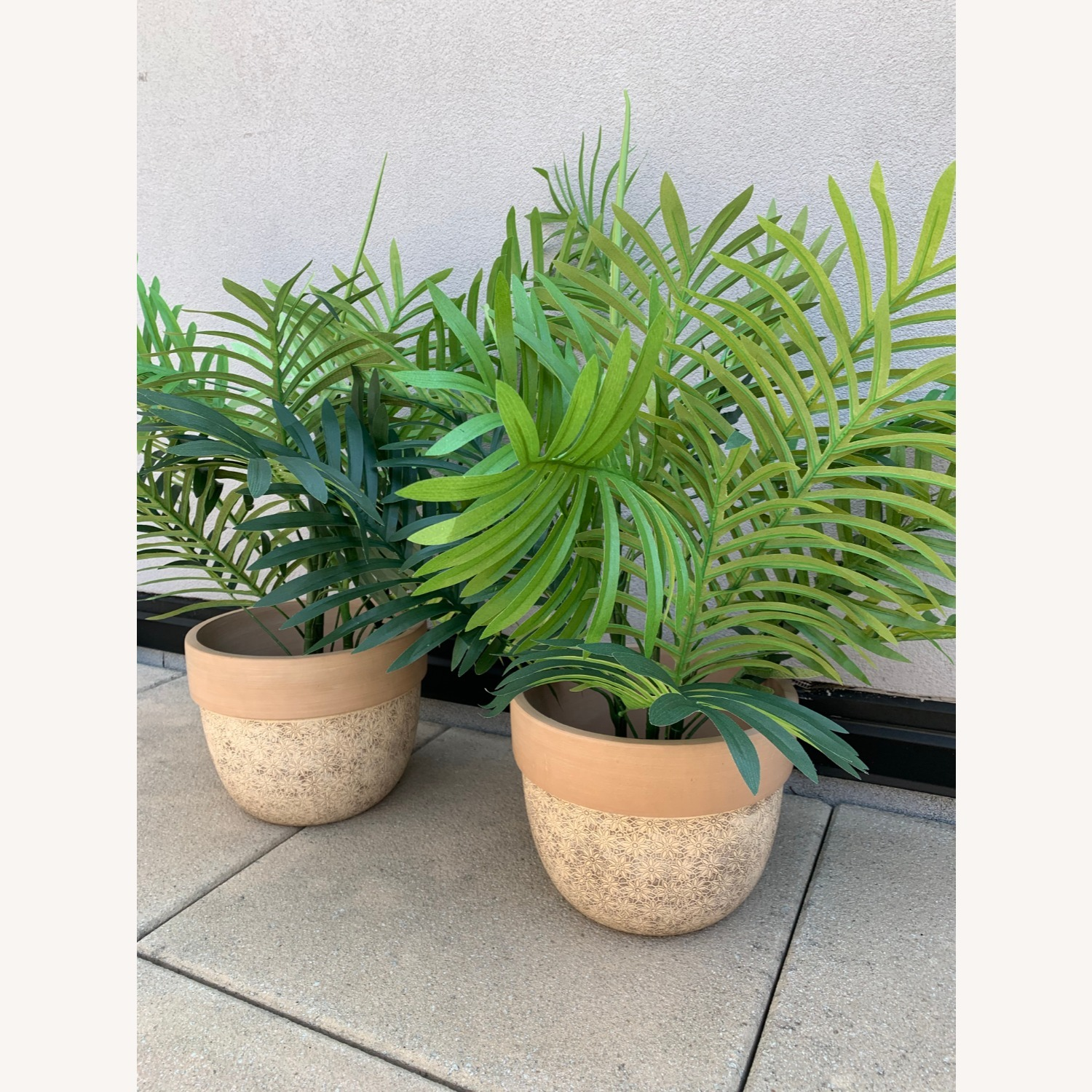 Ceramic Planters With Etched Flowers + Faux Palms - image-1