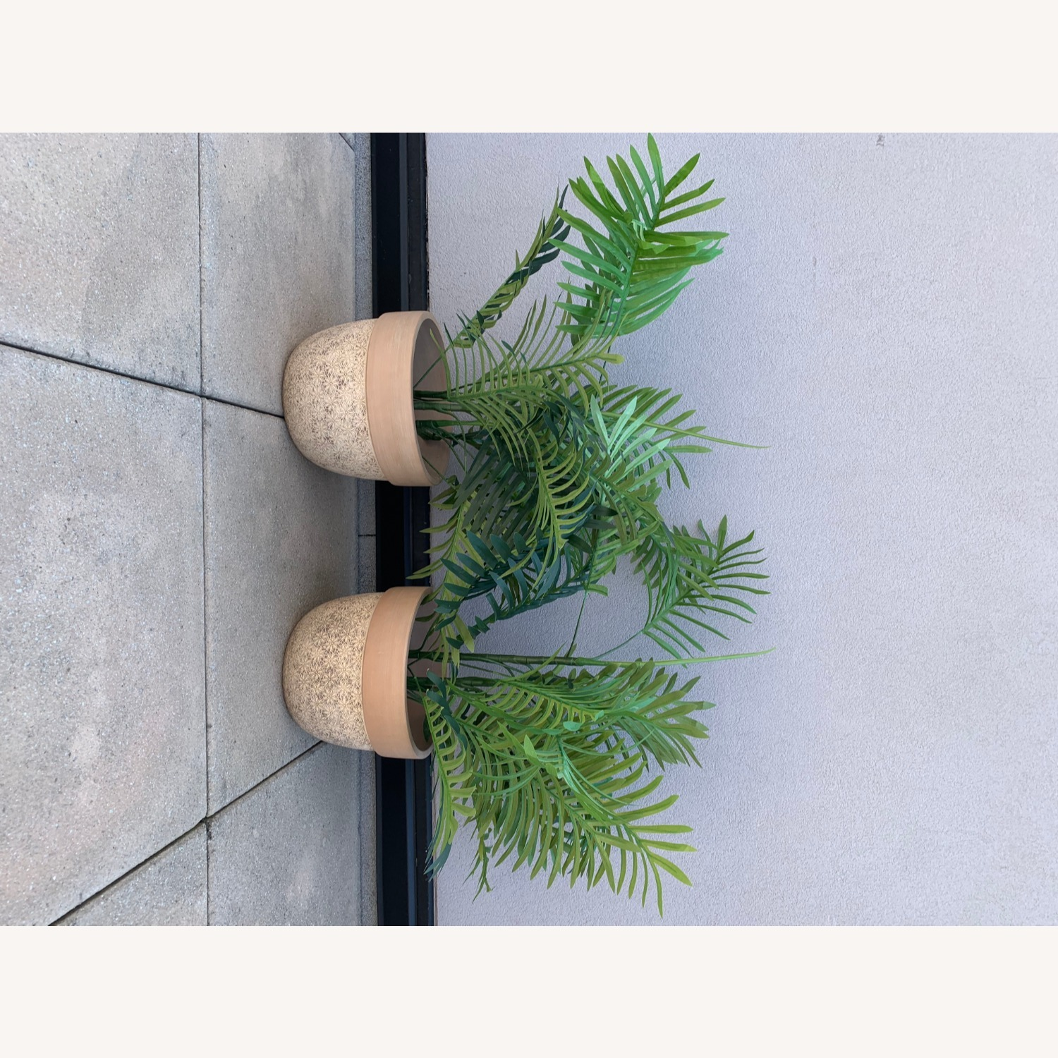 Ceramic Planters With Etched Flowers + Faux Palms - image-7