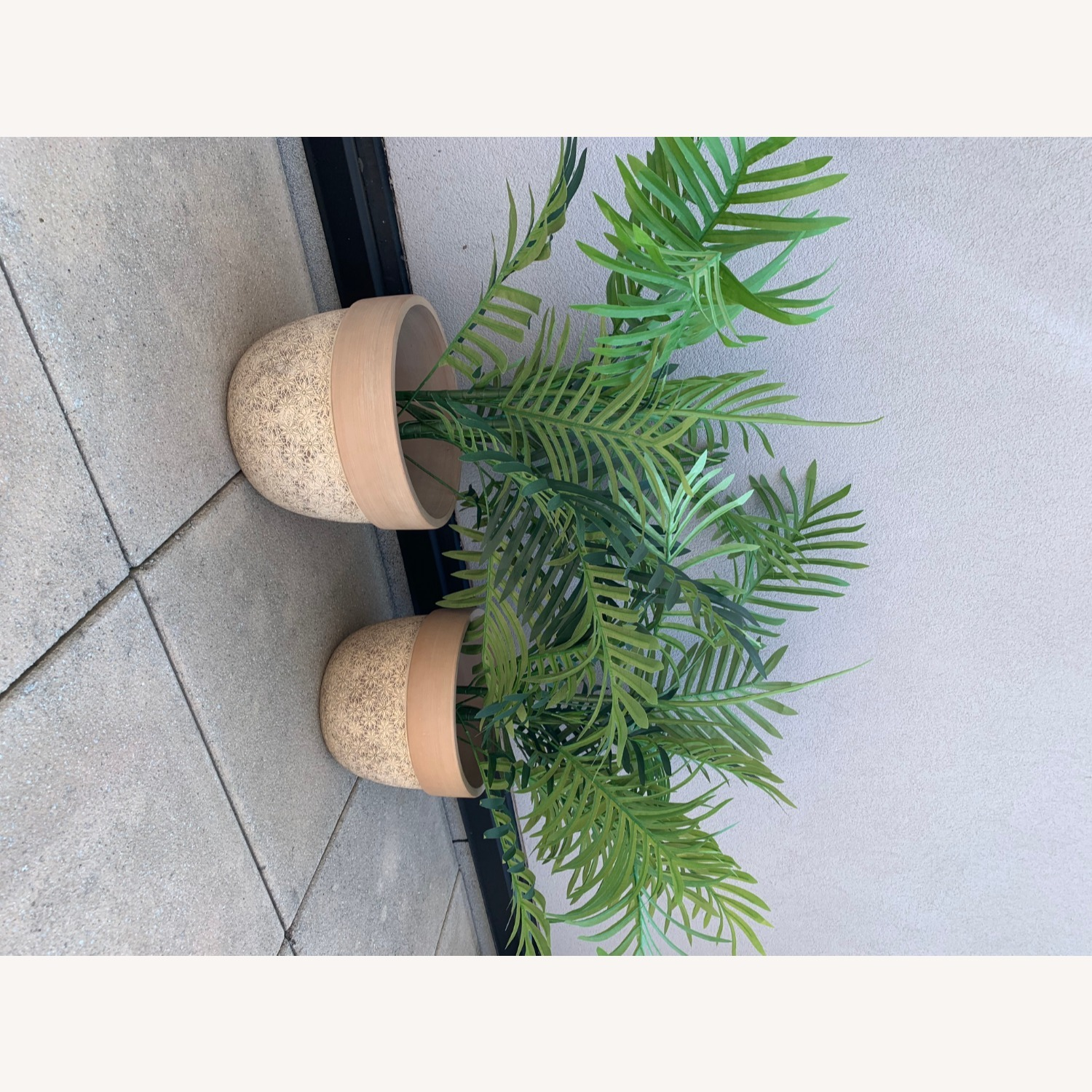Ceramic Planters With Etched Flowers + Faux Palms - image-5