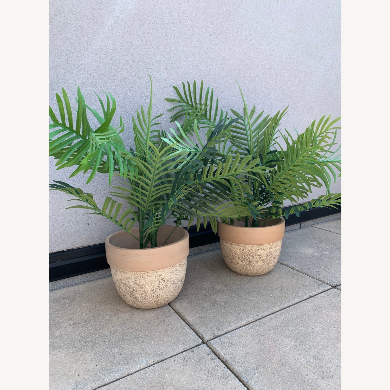 Ceramic Planters With Etched Flowers + Faux Palms - image-2