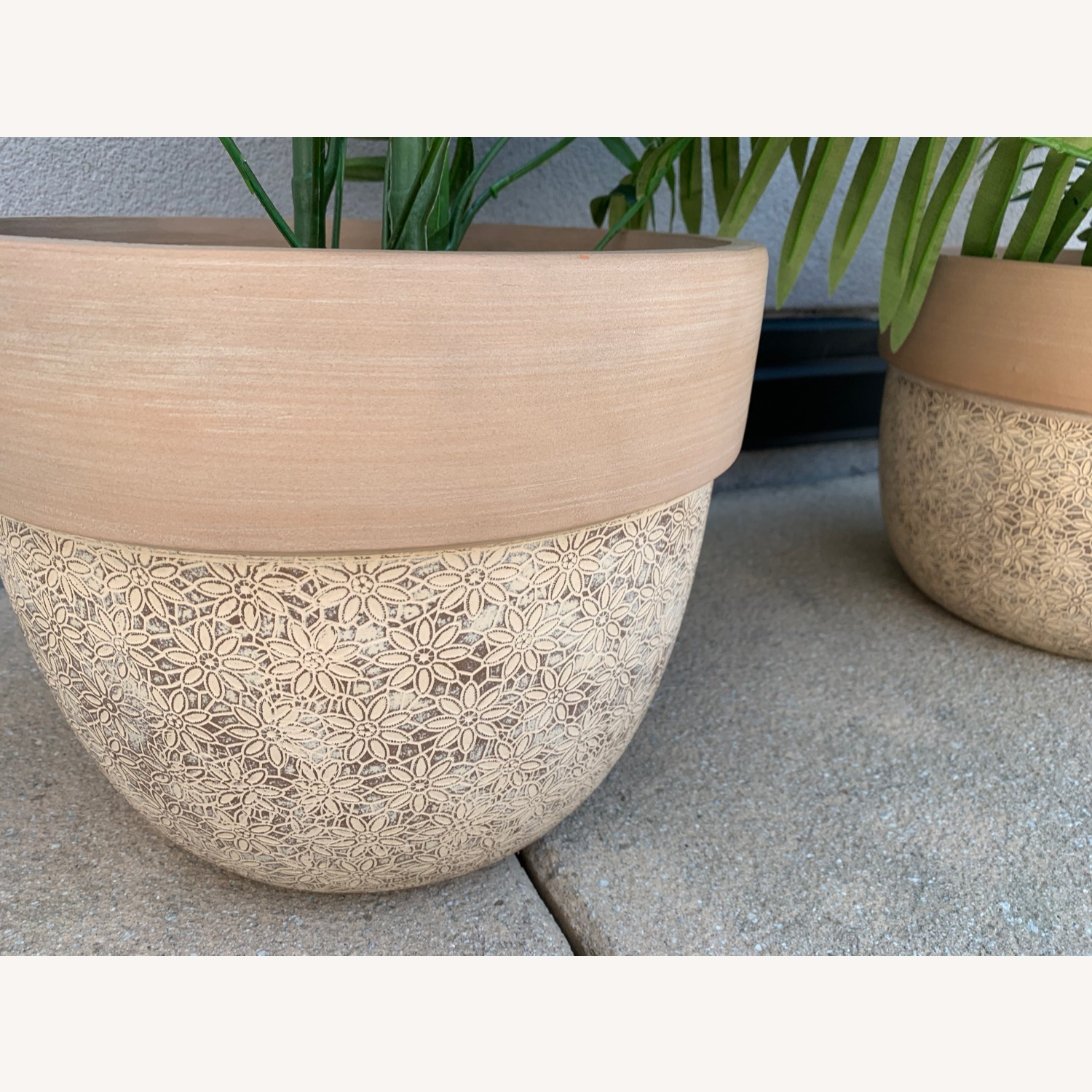 Ceramic Planters With Etched Flowers + Faux Palms - image-3