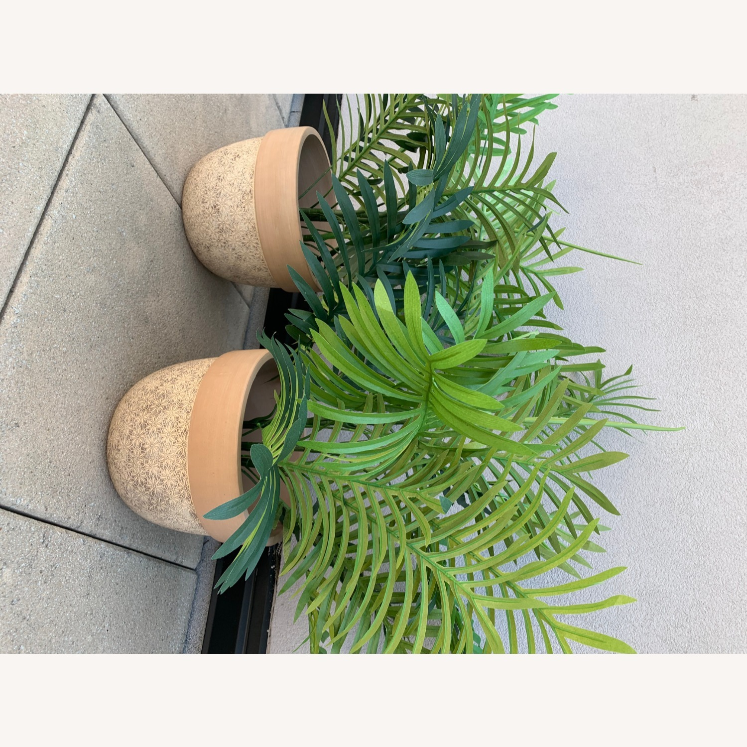 Ceramic Planters With Etched Flowers + Faux Palms - image-6