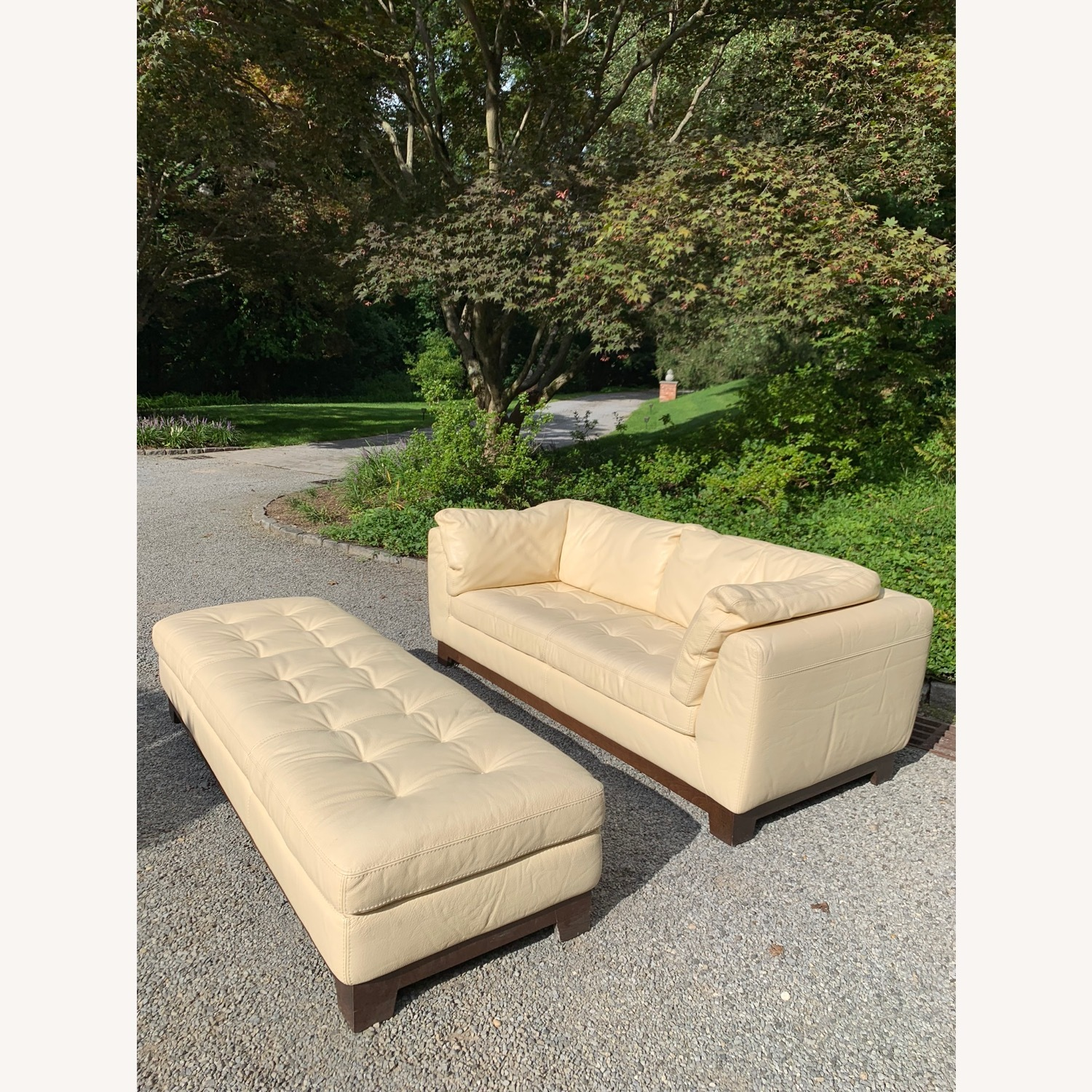 Roche Bobois Ivory Leather 2-Seater Sofa - image-2