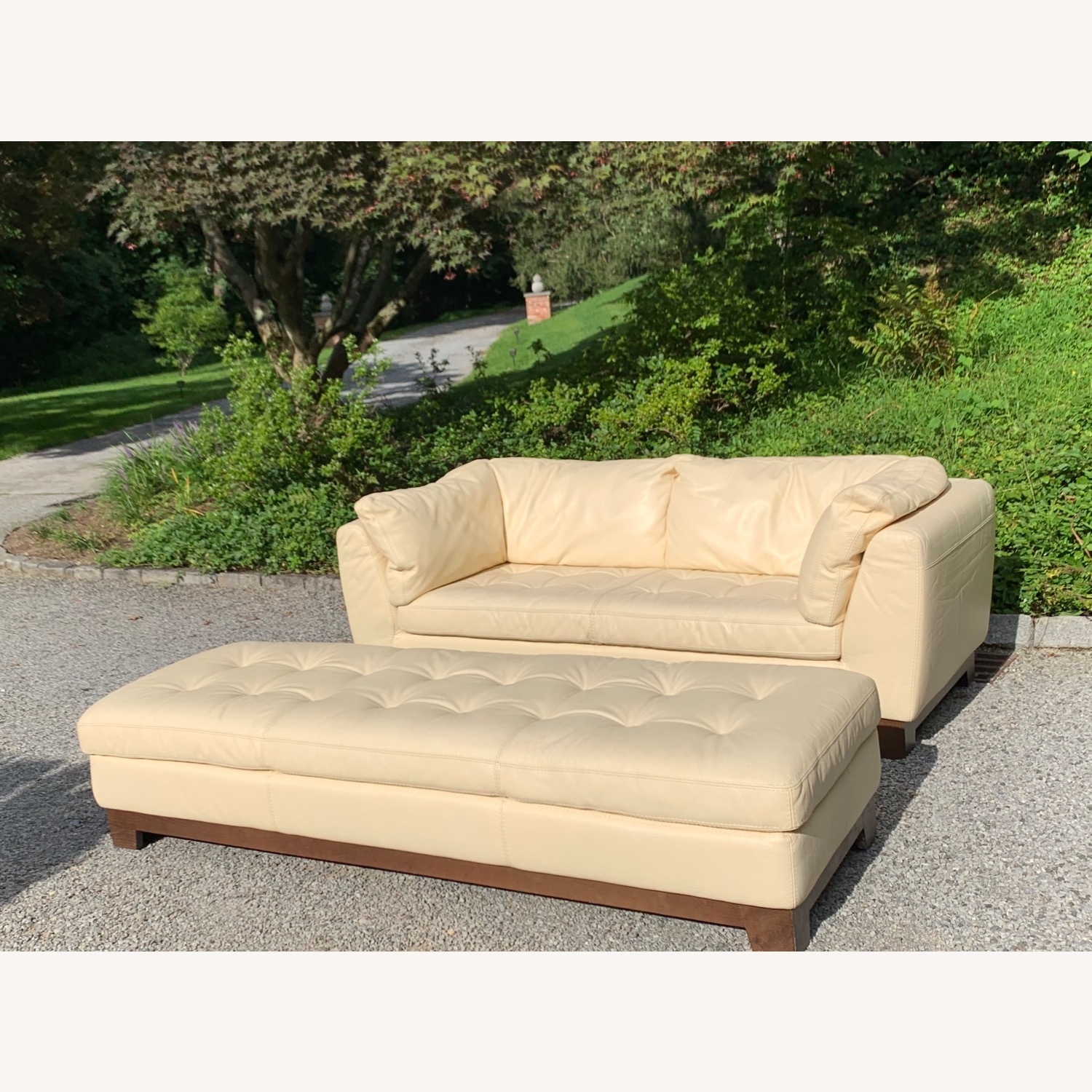 Roche Bobois Ivory Leather 2-Seater Sofa - image-0