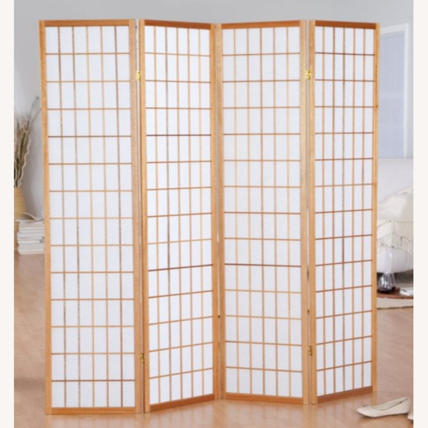 Jakun 4 Panel Shoji Room Divider with Stand - image-1