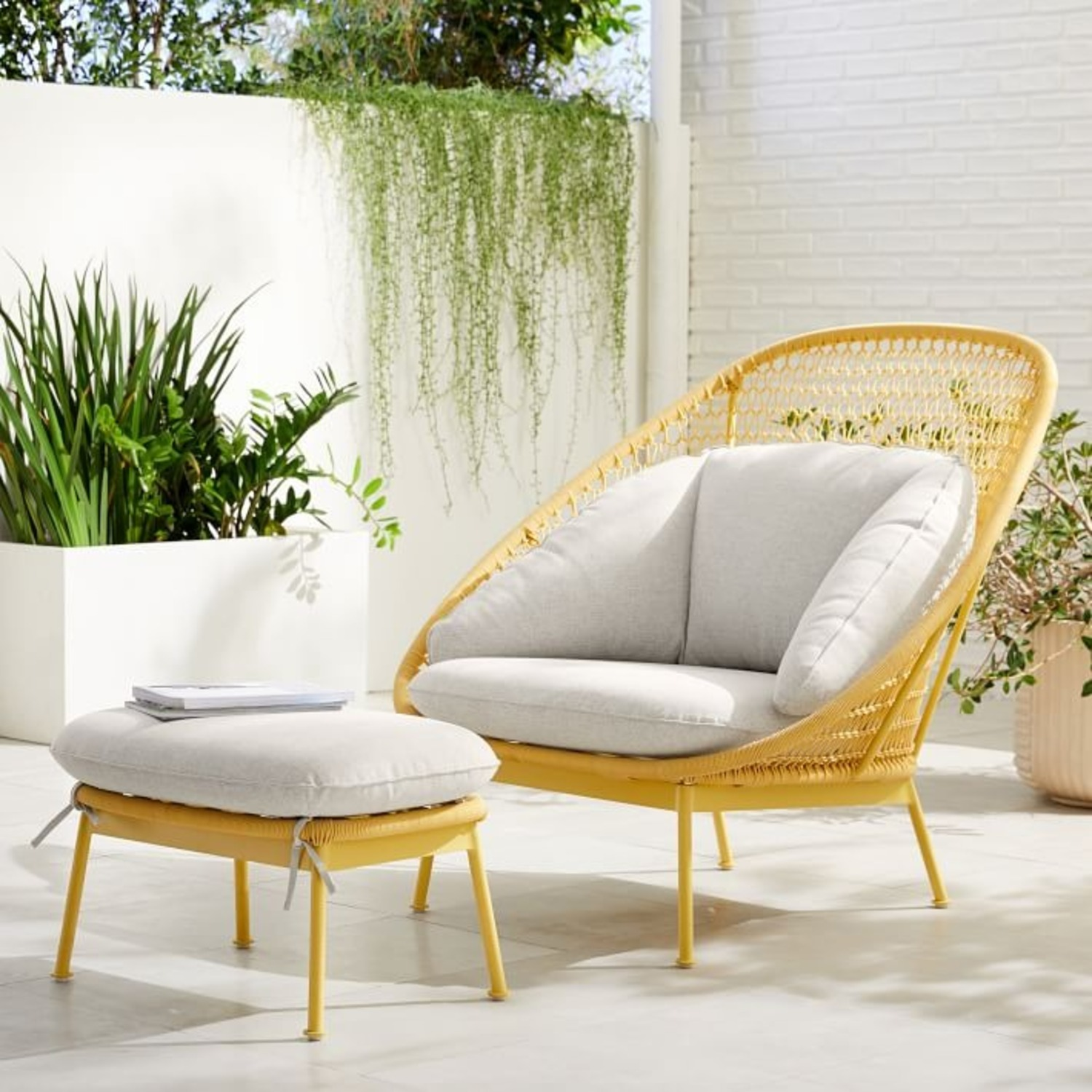 West Elm Nest Sunshine Lounge Chair + Ottoman - image-3
