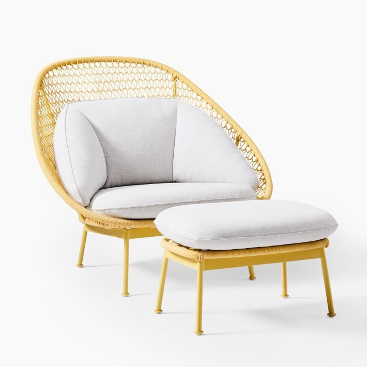West Elm Nest Sunshine Lounge Chair + Ottoman - image-1