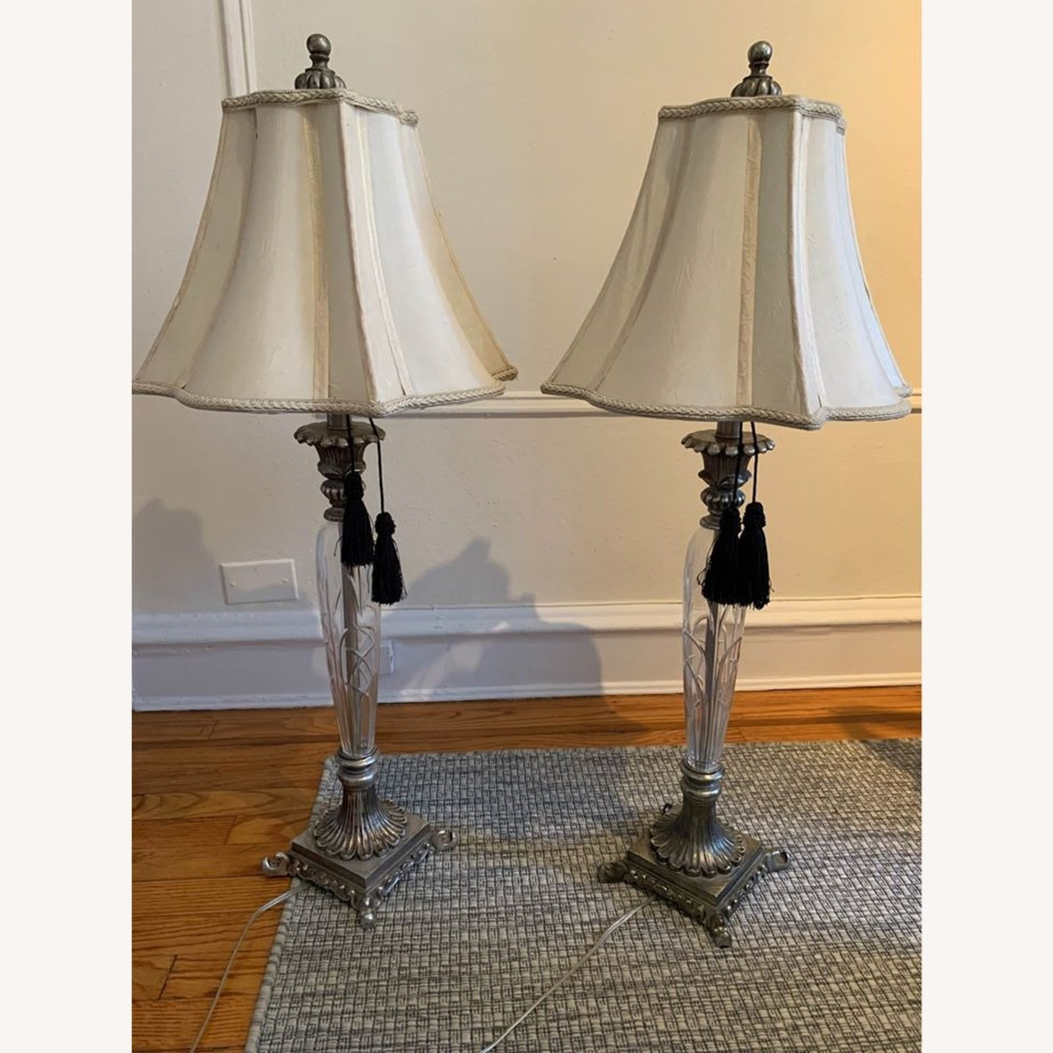 Pair of Carved Silver and Glass Lamps - image-2