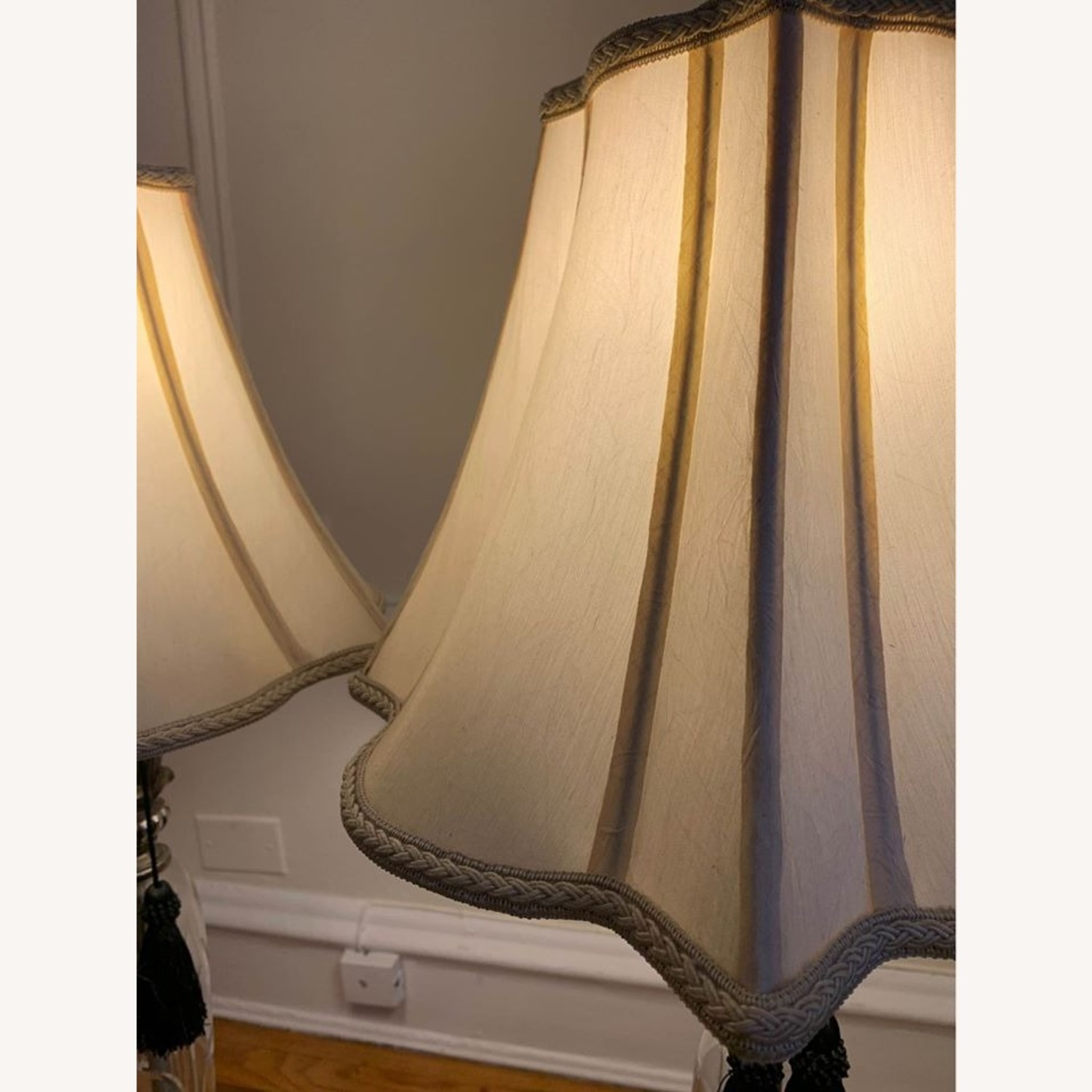 Pair of Carved Silver and Glass Lamps - image-7