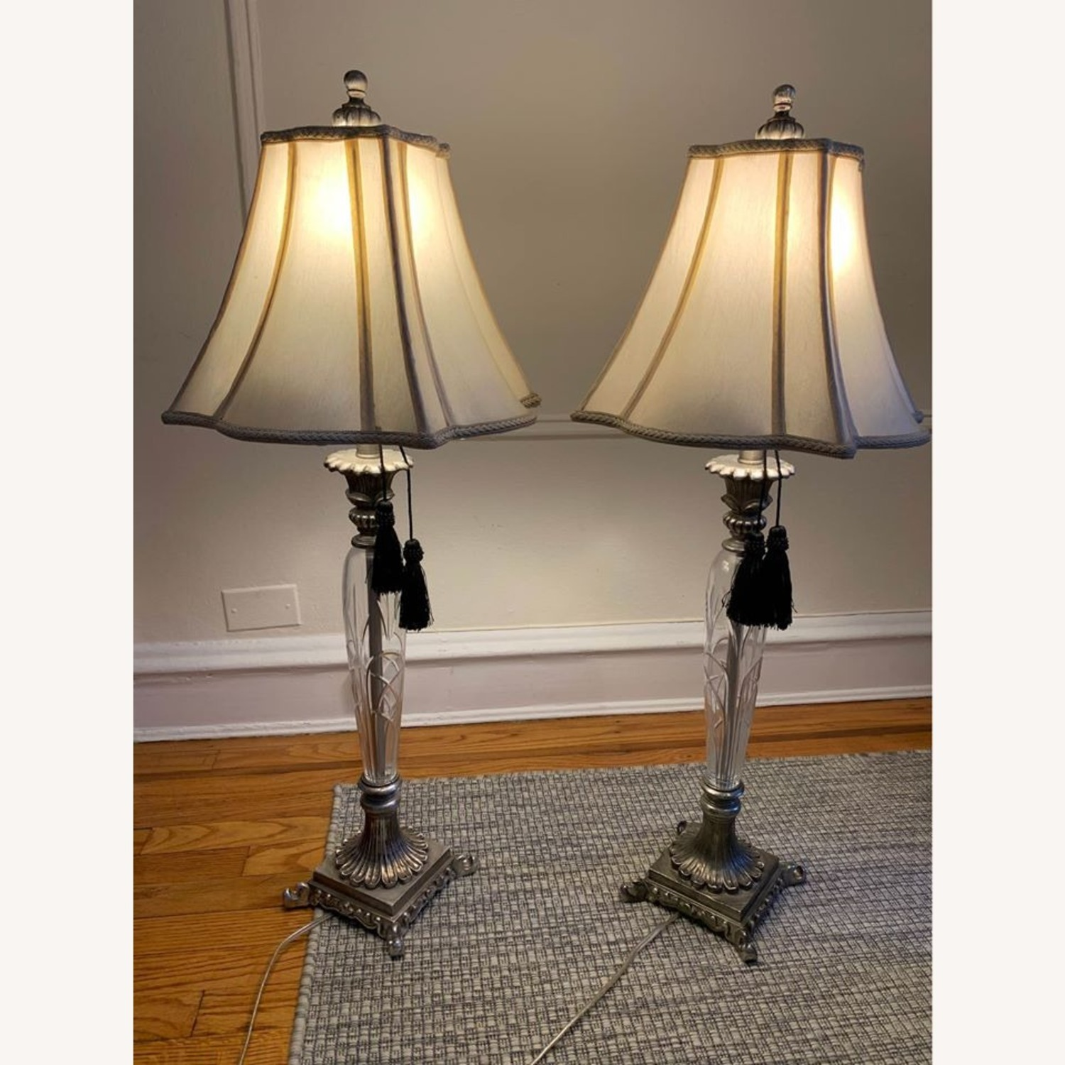 Pair of Carved Silver and Glass Lamps - image-1