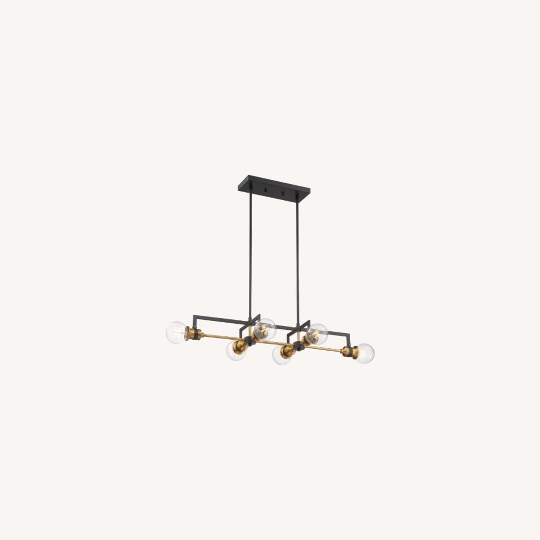 Industrial 6 Light Brass & Black Fixture - image-10